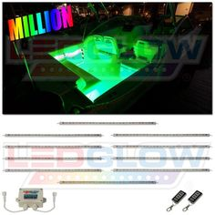 LEDGlow's Million Color LED Boat Lighting Kit is a must have if you're looking to add a custom, multi-color accent glow to your boat that will make it the talk of the dock. This multi-color LED boat light kit features ten 20 inch flexible tubes. Led Boat Lights, White Motorcycle, Make A Boat, Cabin Lighting, Led Light Kits, Marine Boat, Small Boats, Led Headlights, Boat Building