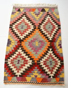 Sukan / VINTAGE Turkish Kilim Rug Carpet - handwoven kilim rug - antique kilim rug - decorative kilim - natural wool. $380.00, via Etsy.