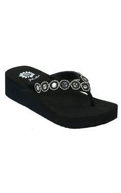 Yellow Box® Ladies Spaniel Black Cow Suede with Metal Sequins Rhinestone Flip Flops