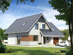 Mały dom mieszkalny z użytkowym poddaszem, niepodpiwniczony. Garage House, Garage Doors, Malm, Home Interior Design, Facade, Outdoor Structures, Flooring, Outdoor Decor, Rest Room