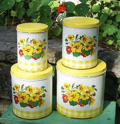 Vintage Yellow Kitchen Canisters Set Of Three By SilveryLane, Etsy | My  Style | Pinterest | Kitchen Canisters, Kitchen Canister Sets And Vintage  Yellow