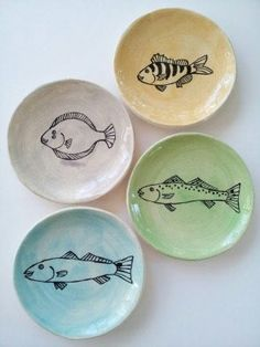 Fish Plates set of Four by elizabethpottery on Etsy, $64.00 I can paint these. Love the muted colors.