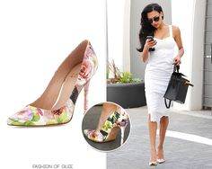 Naya Rivera leaves an office building, Beverly Hills, August 13, 2014 Stuart Weitzman 'Nouveau' Floral Pumps - $313.00 (50% off!) Worn with: Oliver Peoples sunglasses, Rebecca Minkoff dress, Hermès bag Naya's heels might be on mega sale, but they're still pretty pricey. Here are some alternative floral shoes: //
