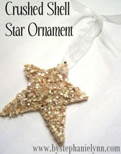 Let's say you have a box of shells to do craft with...and overtime, pieces break and you collect lots of shell pieces in the bottom of the box? use it! check out this crushed shell star ornament...