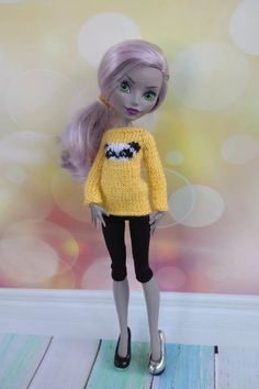 Monster High doll clothes. Hand-knitted yellow sweater with | Etsy Monster High Doll Clothes, Monster High Dolls, Fantasy Women, Yellow Sweater, Custom Dolls, Barbie Dolls, Happy Shopping, Hand Knitting, Panda