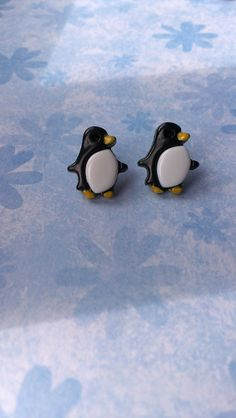 penguin earrings quirky kitsch penguin by TheCraftyCowShed