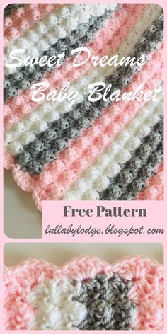 Crochet a gorgeously soft and snuggly baby blanket, with this free pattern. The blanket is sized for both small (pram) and large (cot) blankets also with 2 colourway options to choose from. Easy pattern with step by step instructions and helpful photos. Crochet Baby Blanket Free Pattern, Free Crochet, Free Easy Crochet Patterns, Crotchet Baby Blanket, Free Baby Blanket Patterns, Easy Patterns, Crochet For Beginners Blanket, Crochet Lace, Crochet Crafts