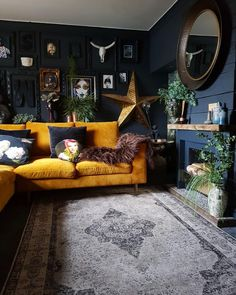 "Maybe dark walls if you have big open window. Maybe it will make the outdoors ""pop"". And not be to dark inside. Maybe dark walls if you have big open window. Maybe it will make the outdoors ""pop"". And not be to dark inside. Living Room Bar, Dark Living Rooms, Home And Living, Living Room Designs, Living Room Furniture, Dark Rooms, Blue Living Room Walls, Living Spaces, Living Room Decor Yellow"