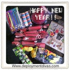 New Years care package (and how to make party poppers) via deploymentdivas.com
