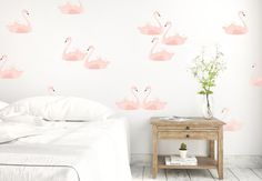 Wall Decals by @urbanwalls  -  Pink Swans #swans #walldecals #wallstickers #decals #pattern