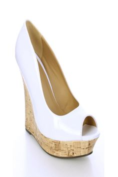 d1c517f5a80a White Patent Faux Leather Wedges   Sexy Clubwear