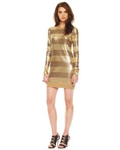 MICHAEL Michael Kors Striped Sequin Sweater, Dark Camel - OMG!!!!!!! ♥