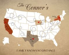 Long Distance  Family Map, Personalized Map for Family Living Far Away, Mother's Day Gift,Gift for Father,Anniversary Gift,Housewarming Gift by DarmellaGraphics on Etsy