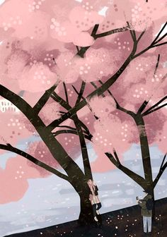 a forest — Happy (belated) first day of spring 🌸 Tree Illustration, Graphic Design Illustration, Gifs, Moving Wallpapers, Spring Aesthetic, Cartoon Art Styles, Spring Tree, Beautiful Gif, Animation