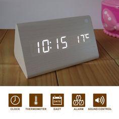Glovion Modern Triangle Wooden Imitation Desk White LED Digital Alarm Clock -Time Temperature Date Voice Sound Control (White)(with UK plug)