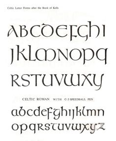 Glyphika: Book of Kells Letter Forms Hand Lettering Alphabet, Calligraphy Letters, Creative Lettering, Lettering Styles, Gaelic Font, Irish Font, Capital Fonts, Celtic Fonts, Writing Fonts