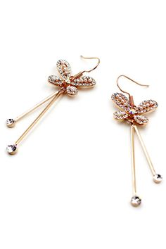 $20 Metal Butterfly Crystal Earrings by OceanJeans on Etsy