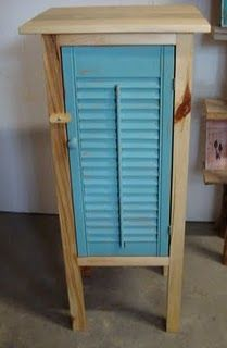 Pallet Shelves Projects for wood pallet projects---I would use this idea but maybe paint all the wood a antique white. Woodworking Images, Diy Woodworking, Woodworking Projects Plans, Recycled Pallets, Wood Pallets, Pallet Wood, Small Shutters, Diy Shutters, Window Shutters