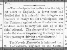 Laws pertaining to velocipedes in England, Daily Athison Champion March 1869