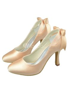 Chic Champagne Satin Bow Wedding High Heels. See More Bridal Shoes at http://www.ourgreatshop.com/Bridal-Shoes-C919.aspx