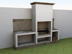 A Guide To Excellent Patio Barbecue Design Outdoor Bbq Kitchen, Outdoor Barbeque, Outdoor Kitchen Design, Patio Design, House Design, Built In Braai, Built In Grill, Parrilla Exterior, Barbecue Design
