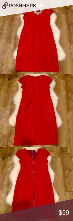 J. Crew• Red Directors Sheath Dress•Size 6 J. Crew size six red Directors Sheath Dress. Beautiful red v-neck Sheath dress with cap sleeves. Perfect for work, interviews, events or dates. EUC. Hate posting this one but it no longer fits. Photo is of the same style. J. Crew Dresses