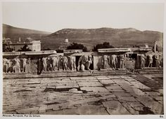 Konstantin Athanasiou - Stage Wall, Theater of Dionysus, Athens, ca 1875 Jean Baptiste, History Of Photography, Acropolis, Athens Greece, Dionysus, Archaeology, Vintage Photos, Mount Rushmore, Theatre