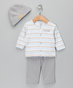 Take a look at this Orange & Blue Stripe Pants Set by Playdate Apparel: Infant & Toddler on #zulily today!
