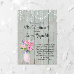 Rustic Mason Jar Bridal Shower Invitation Country Bridal Shower Invite Aqua Wood Pink Flowers String Lights Spring Bridal Shower Invite by MossAndTwigPrints on Etsy