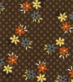 Made in the USA Harvest Fabric - Mini Flowers On Brown