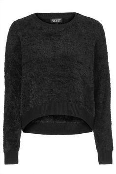 Womens Fluffy Knit Sweater - Black, Black - £36 on Vein - getvein.com