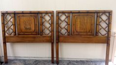 Two Beautiful Twin Size Headboards Fretwork Faux Bamboo Chinese Chippendale Regency Oriental by DEGFURNITUREDESIGNS on Etsy