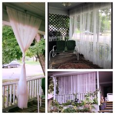 Sheer curtains on porch.  Using Ikea suspension wire hardware.    Adds privacy without restricting airflow.  By #johansonFarm