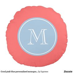 Coral pink blue personalized monogram round pillow