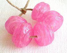Hollow Lampwork Beads Set-Pink Glass Lampwork Hollow Beads