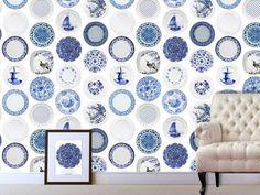 China Plates Blue Mural wallpaper