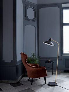 GUBI found another great design by Greta Grossman - the lamp from the early - relaunched in 2015 and available now. Unique Floor Lamps, Arc Floor Lamps, Black Floor Lamp, Greta Grossman, Lamp Inspiration, Scandinavia Design, Mid Century Lighting, Living Room Flooring, Contemporary Interior