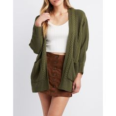 83588323ee Charlotte Russe Open-Front Cable Knit Cardigan ( 16) ❤ liked on Polyvore  featuring tops