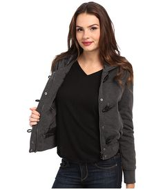 dollhouse Hooded Zip Front Bomber w/ Knit Trim & Toggles
