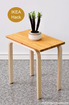 Here is another easy DIY side table and my first IKEA hack. (Well, it's my second IKEA hack if you count the mid-century modern inspired cement replacement sofa legs. Check the cement legs project out here.) For this DIY furniture project I used the legs from an IKEA Frosta stool. The IK