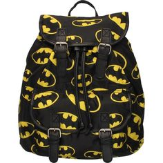 Batman Multi Logo Flap Top Backpack (975 CZK) ❤ liked on Polyvore featuring bags, backpacks, batman, accessories, flap bag, backpacks bags, logo bags, logo backpacks and rucksack bag