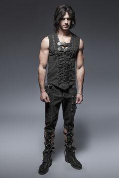 Punk Rave T-Shirt Mens Top Steampunk Gothic visual kei Vest Sleeveless Tank Punk Outfits, Gothic Outfits, Rave Outfits, Rock Clothing, Cyberpunk, Gothic Pants, Punk Rave, Dark Fashion, Trapper Keeper
