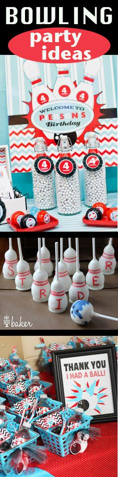 Bowling Party- fun ideas. My son would LOVE a bowling themed party so we may have to consider this!!
