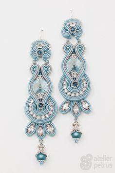 FROZEN - handmade soutache earrings with swarovski elements