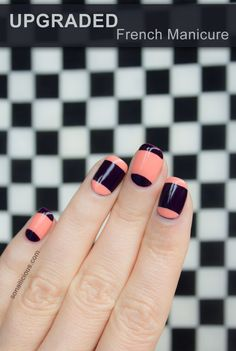 Modern French Manicure. Click through for tutorial. #french #nailart