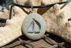 Sailboat Summer Days  engraved Beach Stone Pendant  by castastone, $24.99