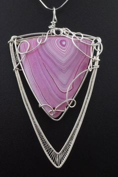 Silver plated wire pendant with Agate/ wire wrapped / without