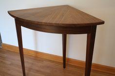 Bow Front Walnut Corner Table