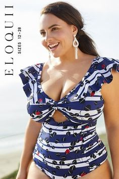 54fe801ad05c4 One-Piece Swimsuit with Ruffle Shoulder