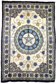 Floral Pentacle Pentagram Wicca Wiccan Witchcraft Altar Table Cloth India Indian Hippie Tapestry Bedspread Wall Hang Hanging Bedding Throw  http://4rissa.storenvy.com/collections/652117-tapestries-bedding/products/6604042-pentacle-pentagram-floral-flowers-celtic-wicca-altar-cloth-bedspread-tapestr